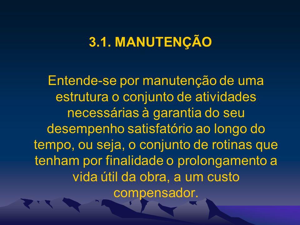3.1. MANUTENÇÃO Entende-se por manutenção de uma estrutura o conjunto de atividades necessárias à garantia do seu desempenho satisfatório ao longo do