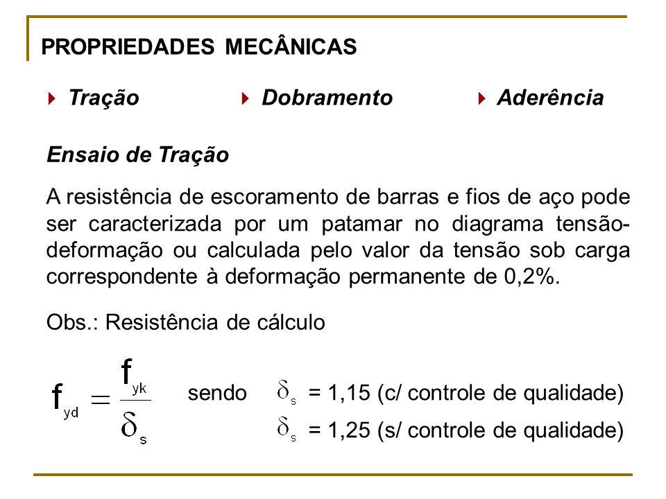 PROPRIEDADES MECÂNICAS Tração Dobramento Aderência Ensaio de Tração A resistência de escoramento de barras e fios de aço pode ser caracterizada por um patamar no diagrama tensão- deformação ou calculada pelo valor da tensão sob carga correspondente à deformação permanente de 0,2%.