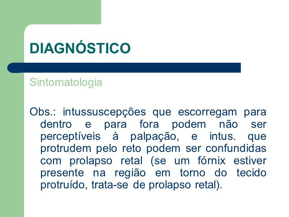 DIAGNÓSTICO Sintomatologia Obs.: intussuscepções que escorregam para dentro e para fora podem não ser perceptíveis à palpação, e intus. que protrudem