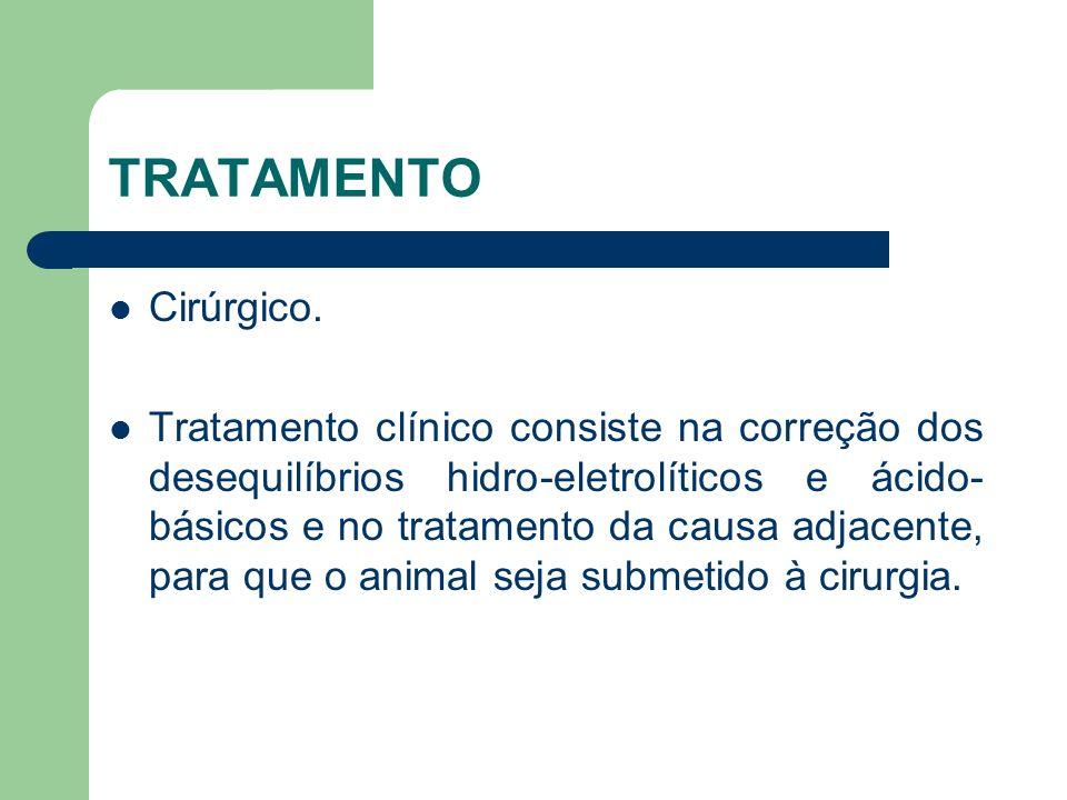 TRATAMENTO Cirúrgico. Tratamento clínico consiste na correção dos desequilíbrios hidro-eletrolíticos e ácido- básicos e no tratamento da causa adjacen