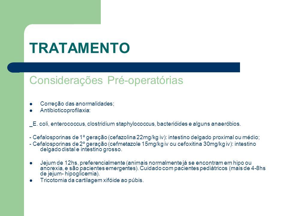 TRATAMENTO Considerações Pré-operatórias Correção das anormalidades; Antibioticoprofilaxia: _E. coli, enterococcus, clostridium staphylococcus, bacter