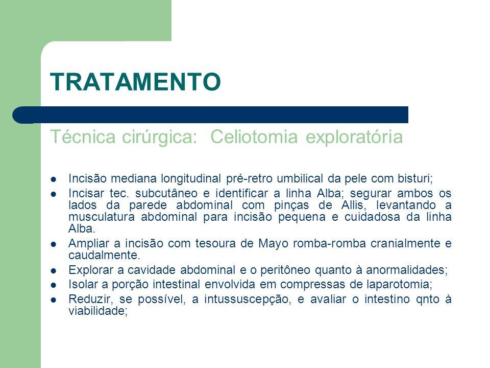 TRATAMENTO Técnica cirúrgica: Celiotomia exploratória Incisão mediana longitudinal pré-retro umbilical da pele com bisturi; Incisar tec. subcutâneo e