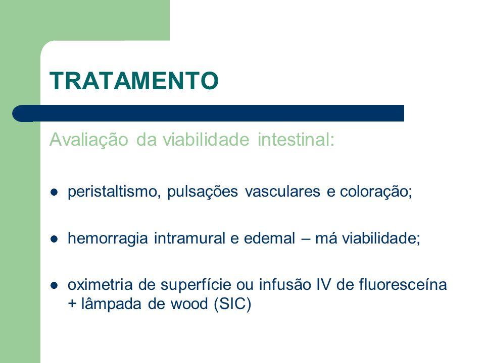TRATAMENTO Avaliação da viabilidade intestinal: peristaltismo, pulsações vasculares e coloração; hemorragia intramural e edemal – má viabilidade; oxim