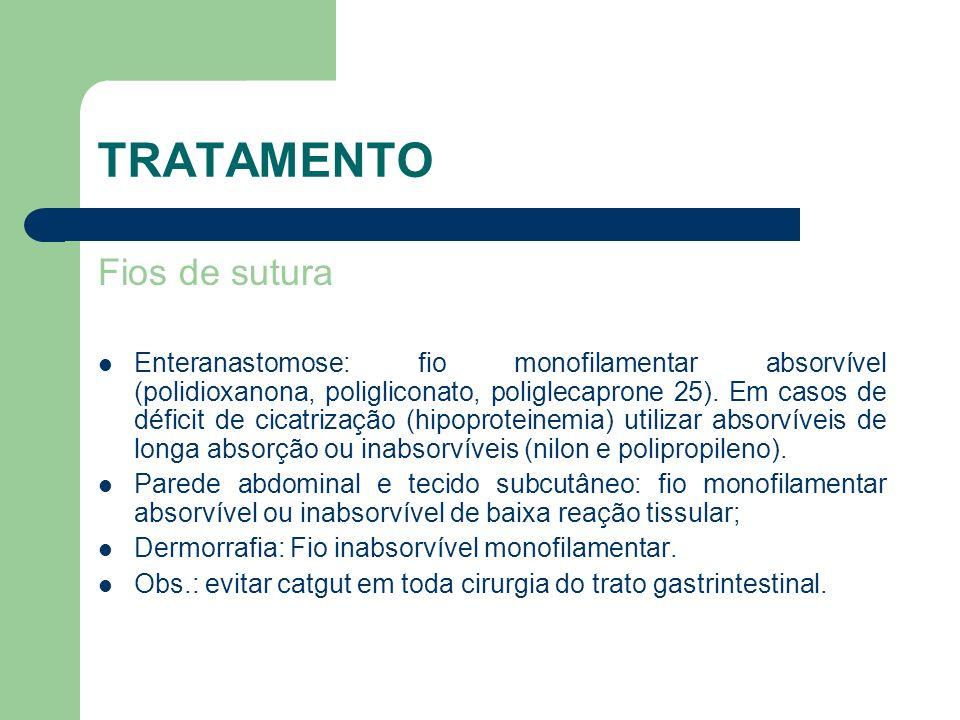 TRATAMENTO Fios de sutura Enteranastomose: fio monofilamentar absorvível (polidioxanona, poligliconato, poliglecaprone 25). Em casos de déficit de cic