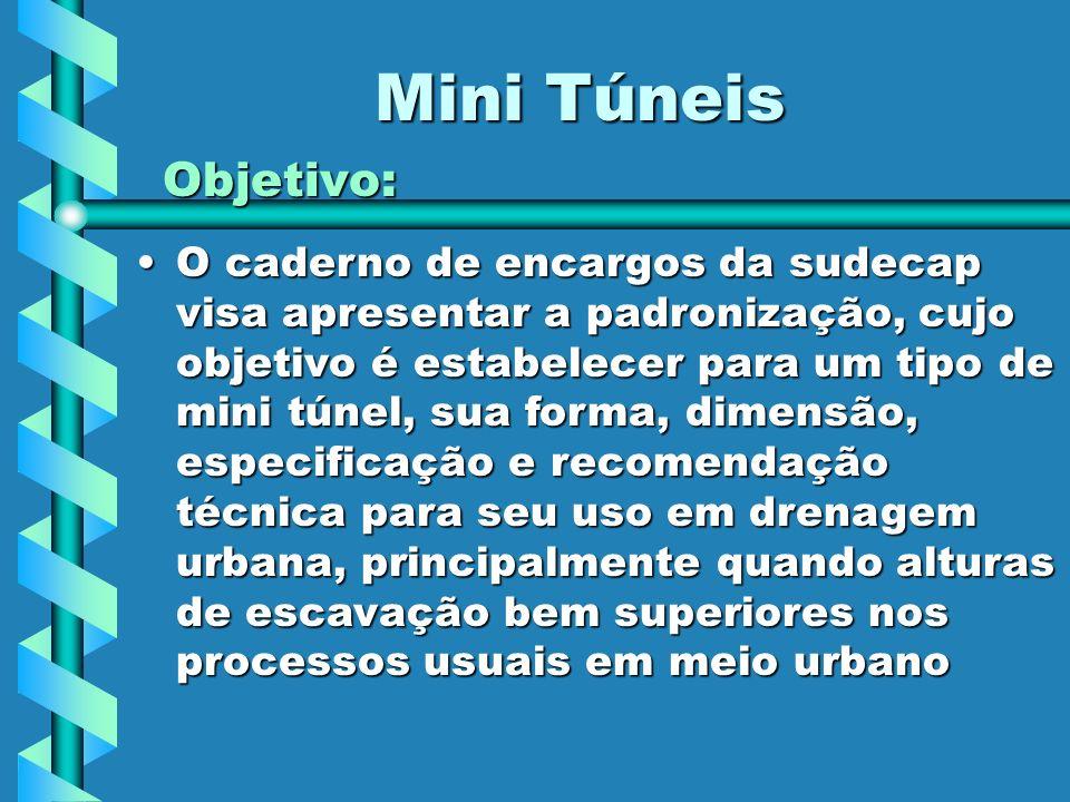 Mini Túneis Objetivo: O caderno de encargos da sudecap visa apresentar a padronização, cujo objetivo é estabelecer para um tipo de mini túnel, sua for