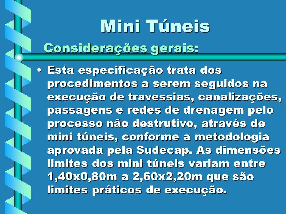 Mini Túneis Considerações gerais: Esta especificação trata dos procedimentos a serem seguidos na execução de travessias, canalizações, passagens e red
