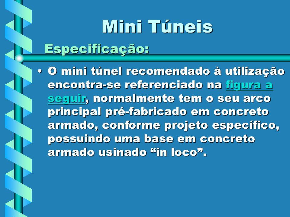 Mini Túneis Especificação: O mini túnel recomendado à utilização encontra-se referenciado na figura a seguir, normalmente tem o seu arco principal pré