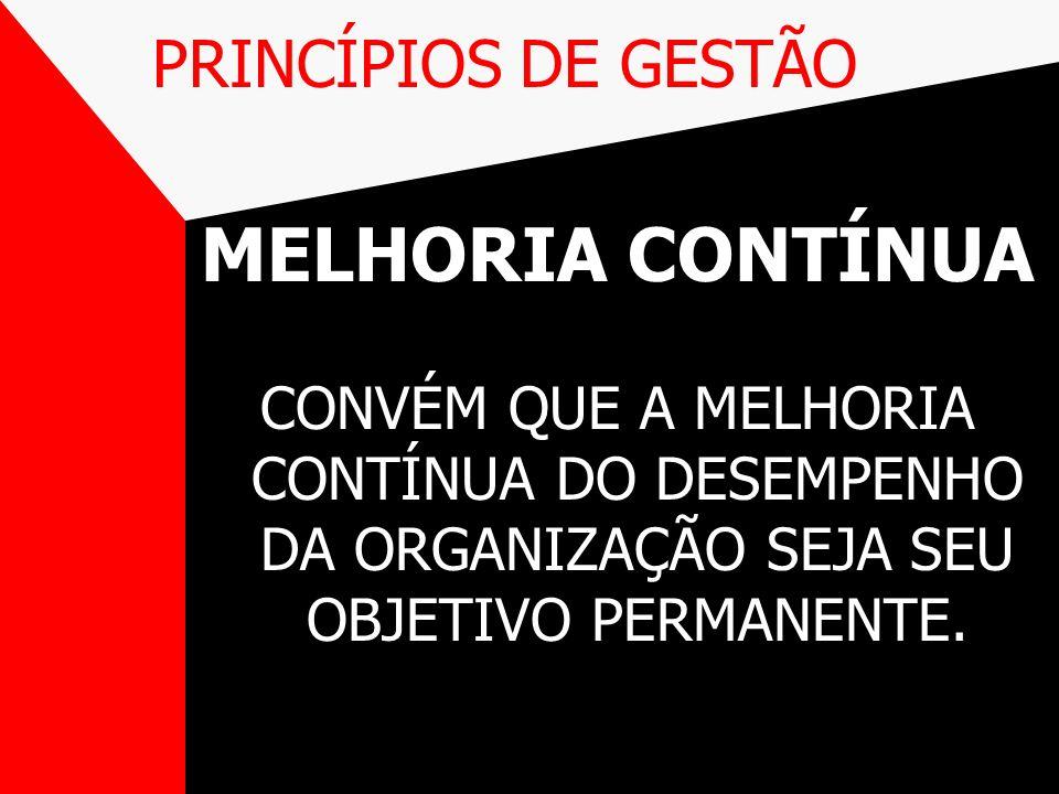 PRINCÍPIOS DE GESTÃO MELHORIA CONTÍNUA CONVÉM QUE A MELHORIA CONTÍNUA DO DESEMPENHO DA ORGANIZAÇÃO SEJA SEU OBJETIVO PERMANENTE.
