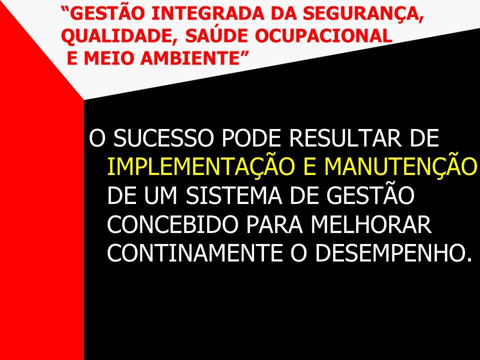 O SUCESSO PODE RESULTAR DE IMPLEMENTAÇÃO E MANUTENÇÃO DE UM SISTEMA DE GESTÃO CONCEBIDO PARA MELHORAR CONTINAMENTE O DESEMPENHO. GESTÃO INTEGRADA DA S