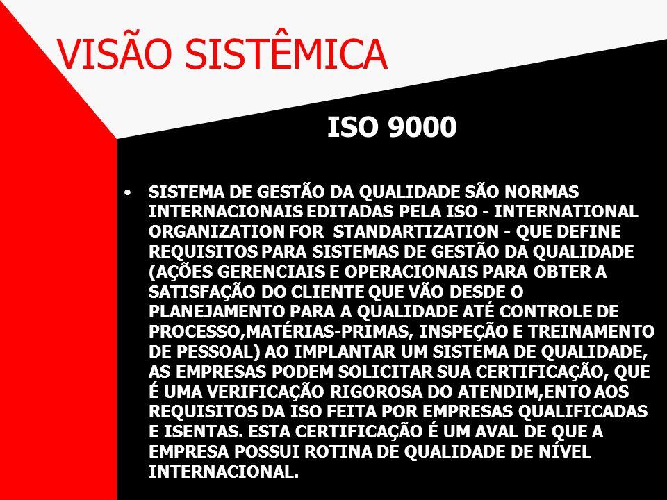 VISÃO SISTÊMICA ISO 9000 SISTEMA DE GESTÃO DA QUALIDADE SÃO NORMAS INTERNACIONAIS EDITADAS PELA ISO - INTERNATIONAL ORGANIZATION FOR STANDARTIZATION -
