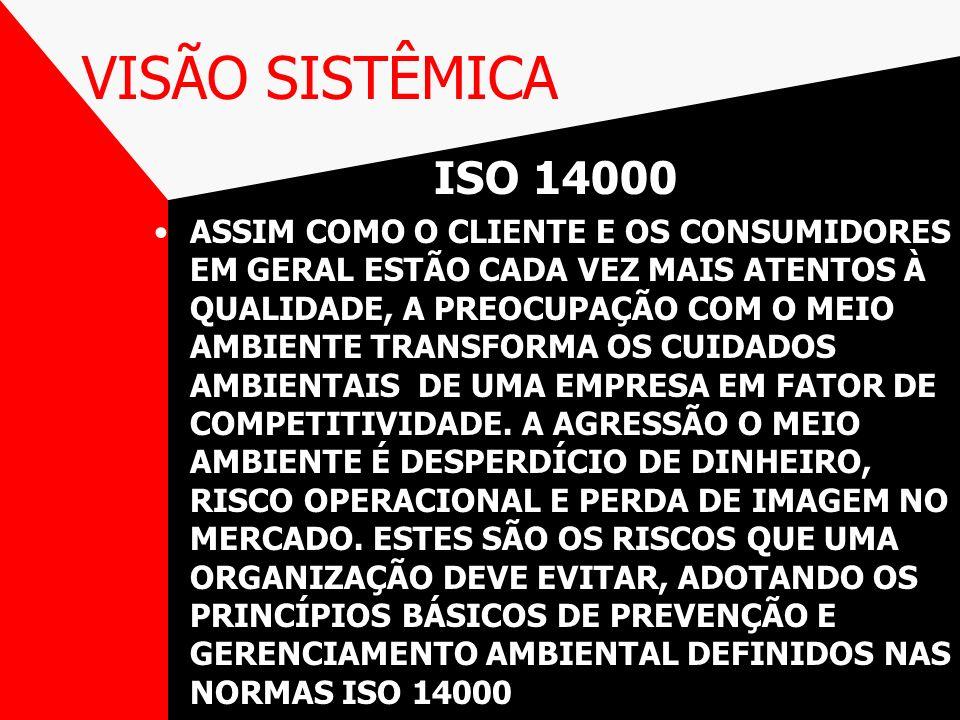 VISÃO SISTÊMICA ISO 14000 ASSIM COMO O CLIENTE E OS CONSUMIDORES EM GERAL ESTÃO CADA VEZ MAIS ATENTOS À QUALIDADE, A PREOCUPAÇÃO COM O MEIO AMBIENTE T