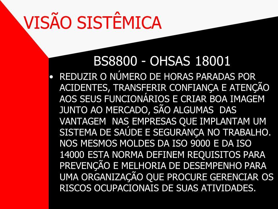 VISÃO SISTÊMICA BS8800 - OHSAS 18001 REDUZIR O NÚMERO DE HORAS PARADAS POR ACIDENTES, TRANSFERIR CONFIANÇA E ATENÇÃO AOS SEUS FUNCIONÁRIOS E CRIAR BOA