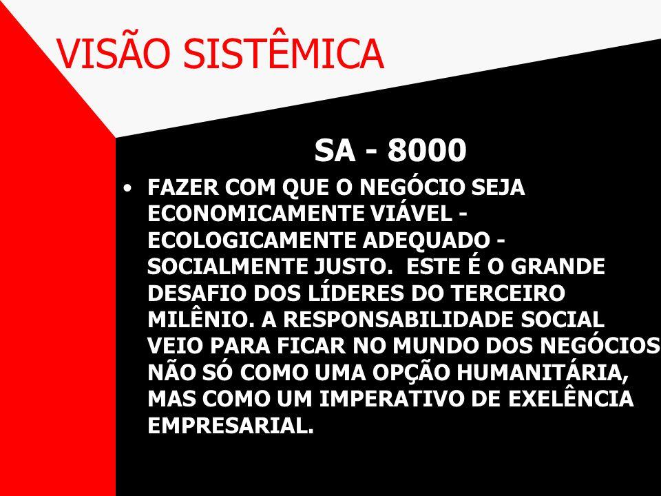 VISÃO SISTÊMICA SA - 8000 FAZER COM QUE O NEGÓCIO SEJA ECONOMICAMENTE VIÁVEL - ECOLOGICAMENTE ADEQUADO - SOCIALMENTE JUSTO. ESTE É O GRANDE DESAFIO DO