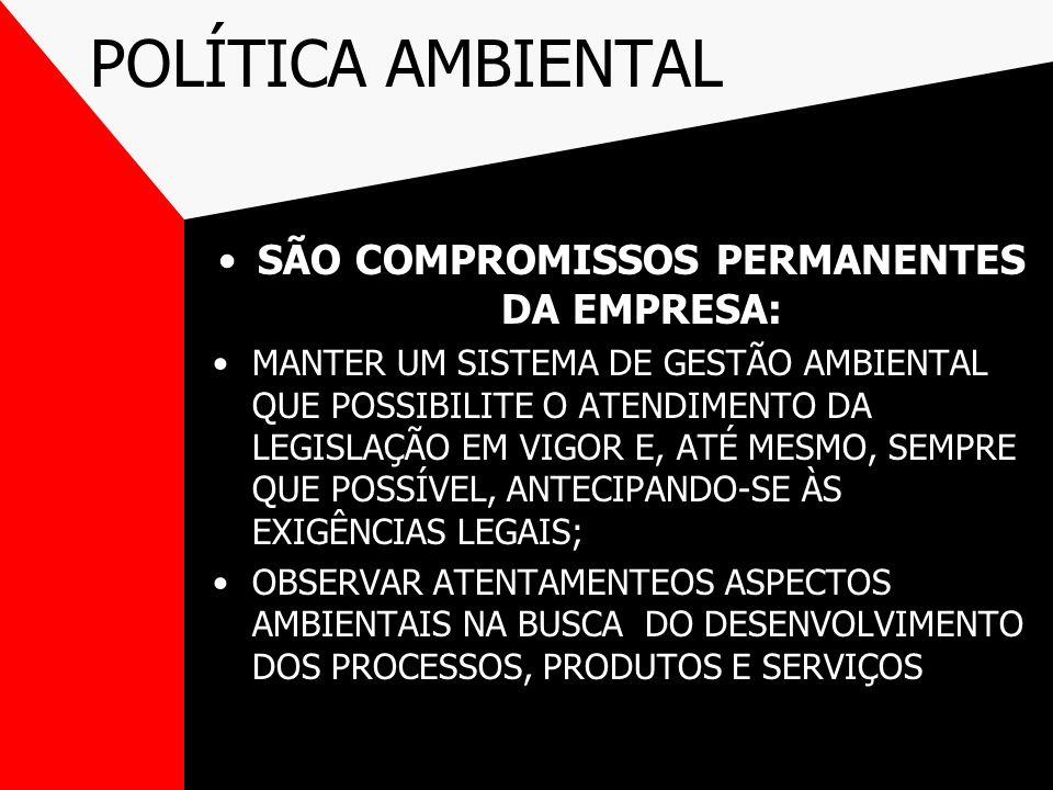 POLÍTICA AMBIENTAL SÃO COMPROMISSOS PERMANENTES DA EMPRESA: MANTER UM SISTEMA DE GESTÃO AMBIENTAL QUE POSSIBILITE O ATENDIMENTO DA LEGISLAÇÃO EM VIGOR