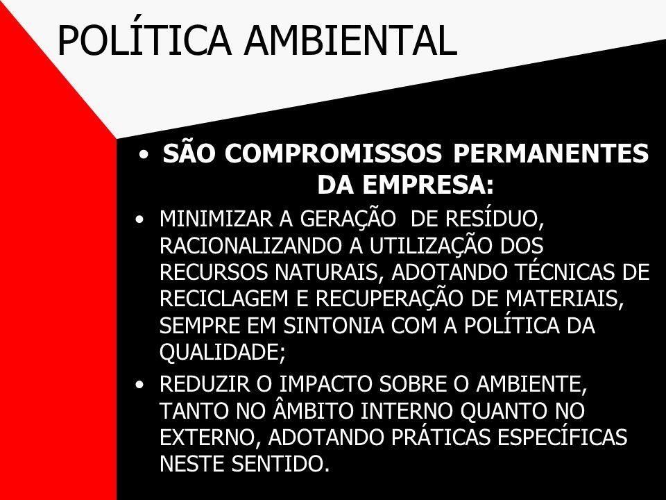 POLÍTICA AMBIENTAL SÃO COMPROMISSOS PERMANENTES DA EMPRESA: MINIMIZAR A GERAÇÃO DE RESÍDUO, RACIONALIZANDO A UTILIZAÇÃO DOS RECURSOS NATURAIS, ADOTAND