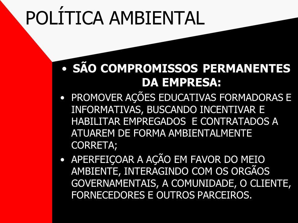 POLÍTICA AMBIENTAL SÃO COMPROMISSOS PERMANENTES DA EMPRESA: PROMOVER AÇÕES EDUCATIVAS FORMADORAS E INFORMATIVAS, BUSCANDO INCENTIVAR E HABILITAR EMPRE
