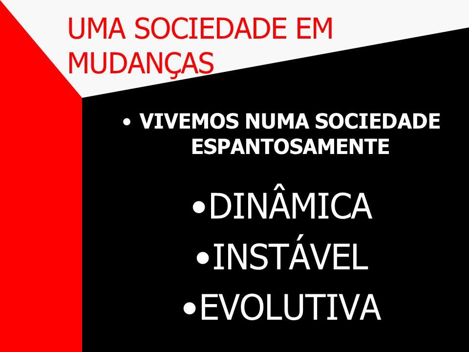 UMA SOCIEDADE EM MUDANÇAS VIVEMOS NUMA SOCIEDADE ESPANTOSAMENTE DINÂMICA INSTÁVEL EVOLUTIVA
