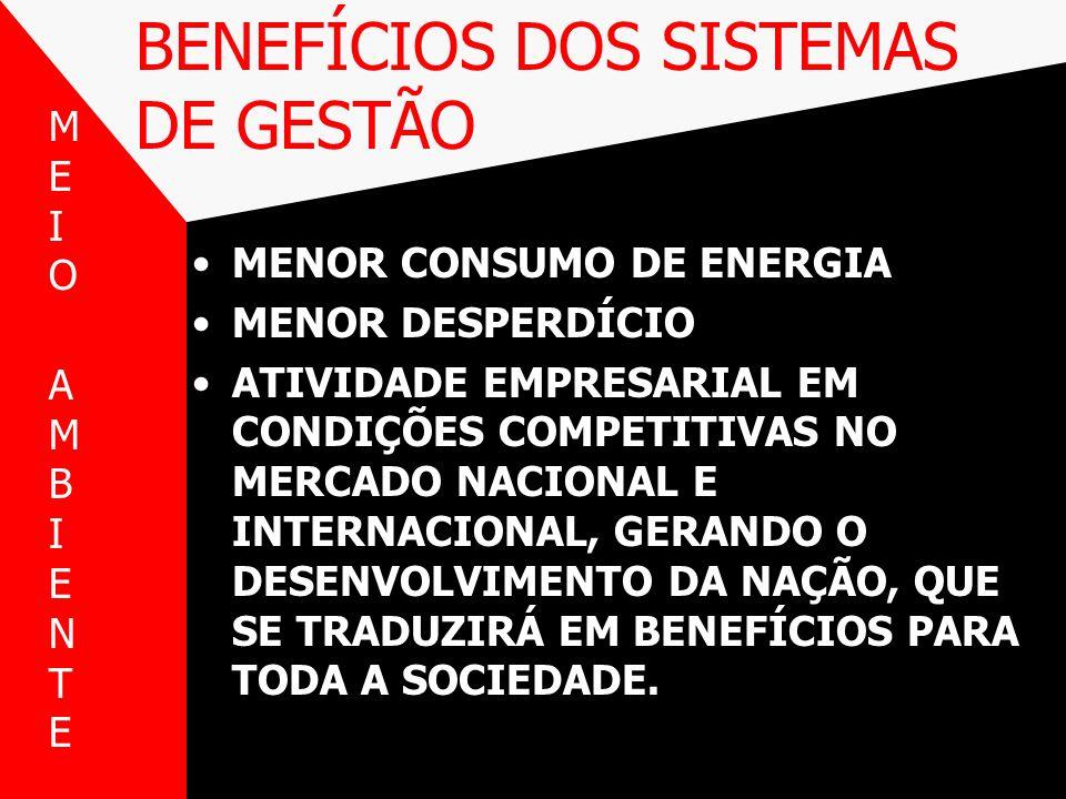 BENEFÍCIOS DOS SISTEMAS DE GESTÃO MENOR CONSUMO DE ENERGIA MENOR DESPERDÍCIO ATIVIDADE EMPRESARIAL EM CONDIÇÕES COMPETITIVAS NO MERCADO NACIONAL E INT