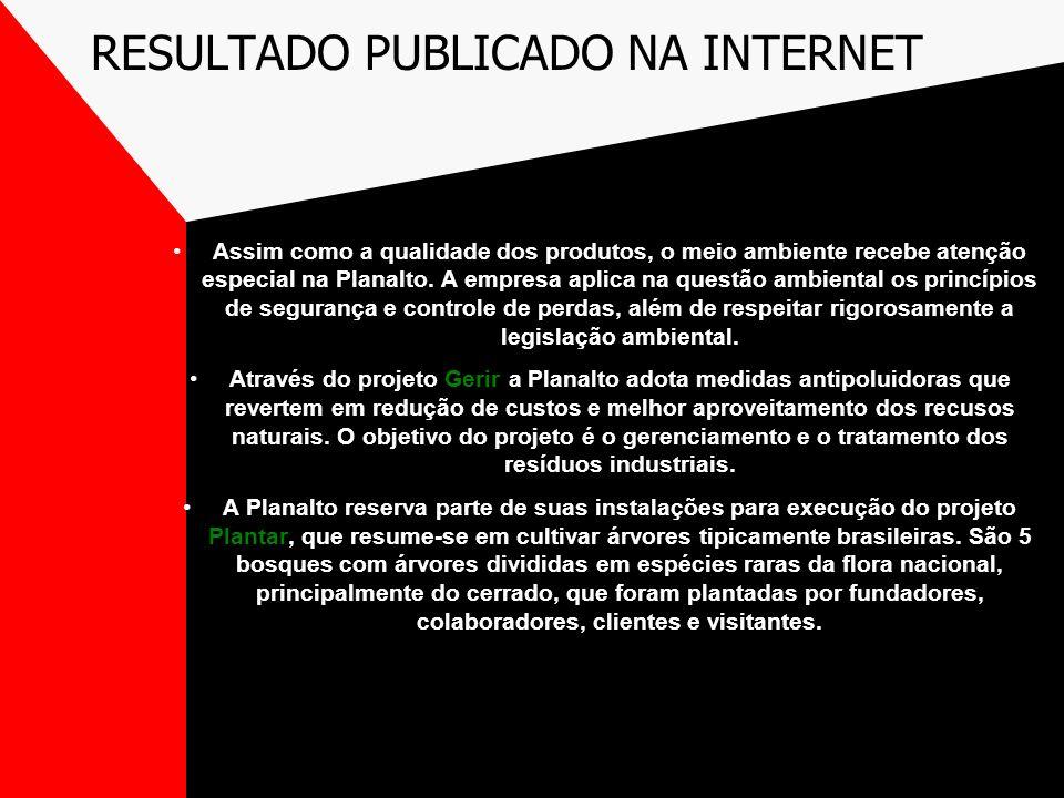 RESULTADO PUBLICADO NA INTERNET Assim como a qualidade dos produtos, o meio ambiente recebe atenção especial na Planalto. A empresa aplica na questão