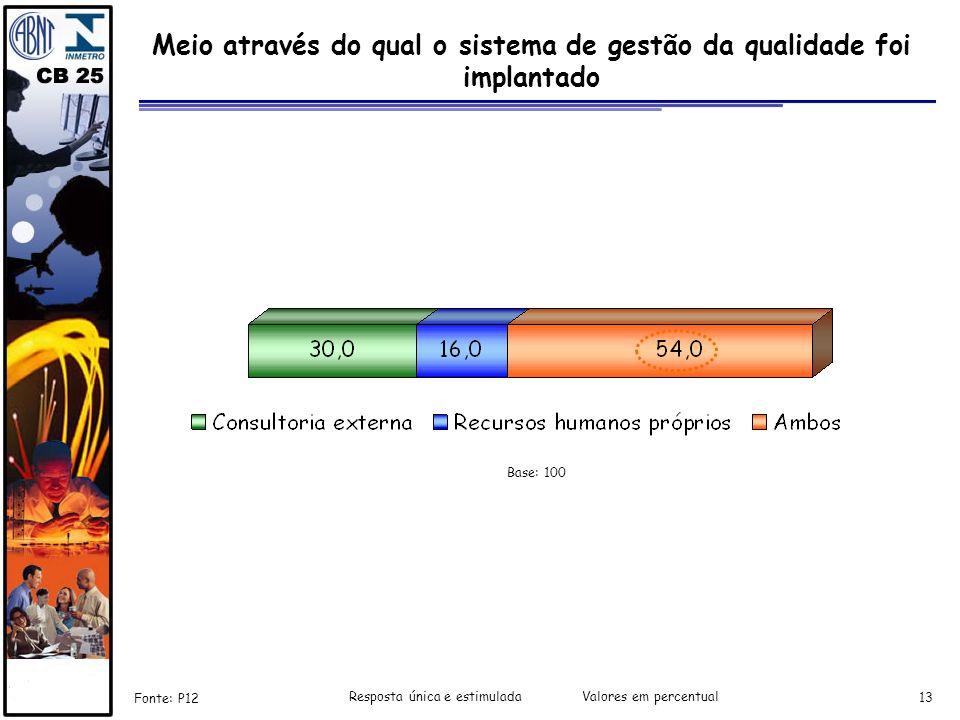 13 Meio através do qual o sistema de gestão da qualidade foi implantado Fonte: P12 Resposta única e estimulada Valores em percentual Base: 100