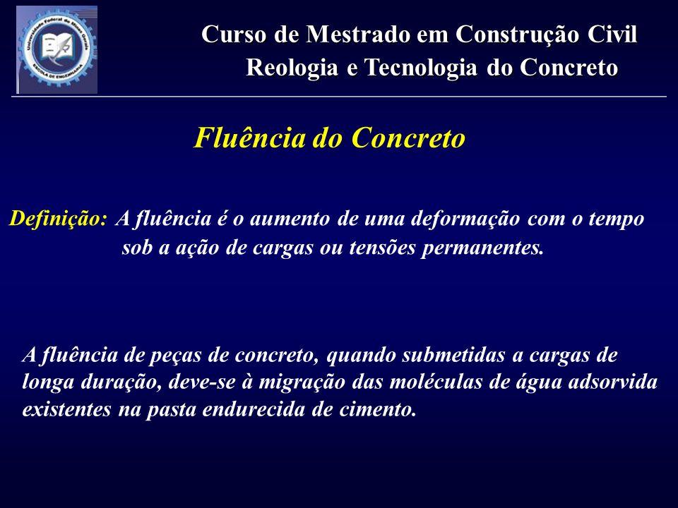 Fluência do Concreto Definição: A fluência é o aumento de uma deformação com o tempo sob a ação de cargas ou tensões permanentes. A fluência de peças