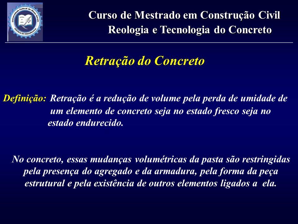 Retração do Concreto Definição: Retração é a redução de volume pela perda de umidade de um elemento de concreto seja no estado fresco seja no estado e