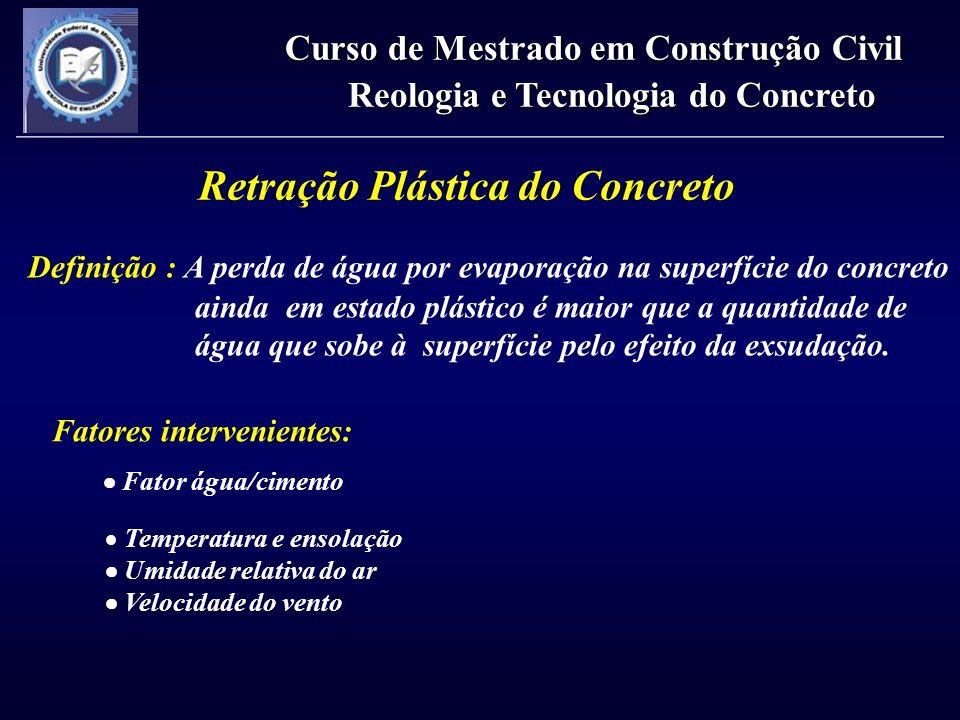 Retração Plástica do Concreto Definição : A perda de água por evaporação na superfície do concreto ainda em estado plástico é maior que a quantidade d
