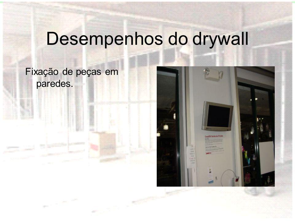 Desempenhos do drywall Fixação de peças em paredes.