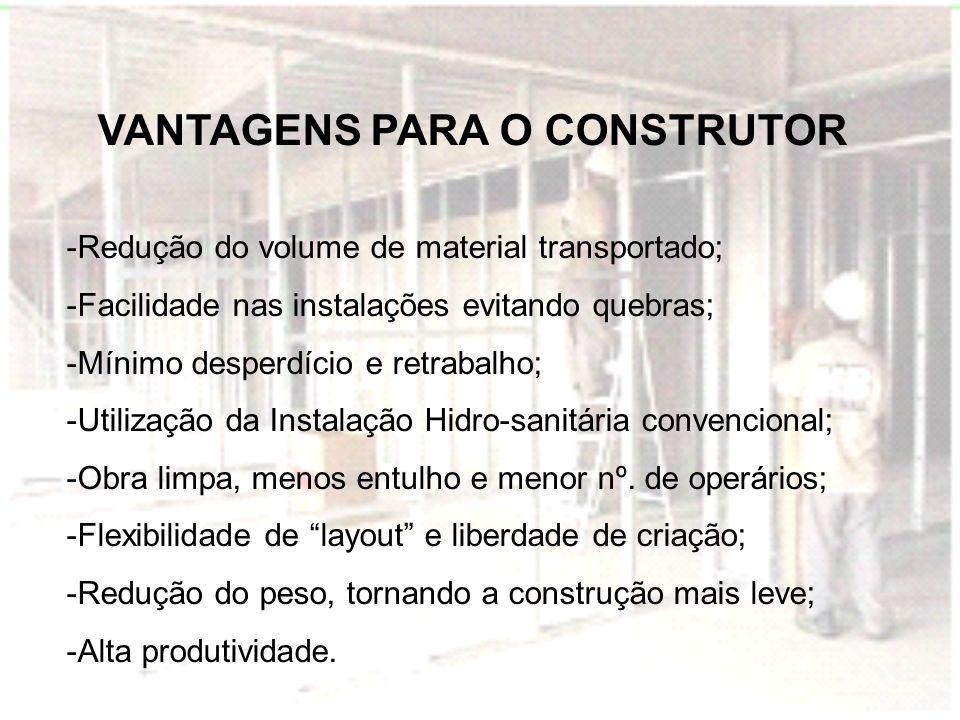VANTAGENS PARA O CONSTRUTOR -Redução do volume de material transportado; -Facilidade nas instalações evitando quebras; -Mínimo desperdício e retrabalh