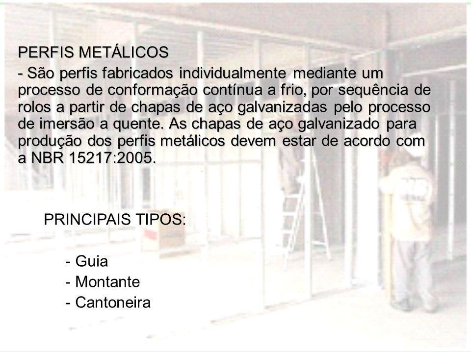 PERFIS METÁLICOS - São perfis fabricados individualmente mediante um processo de conformação contínua a frio, por sequência de rolos a partir de chapa