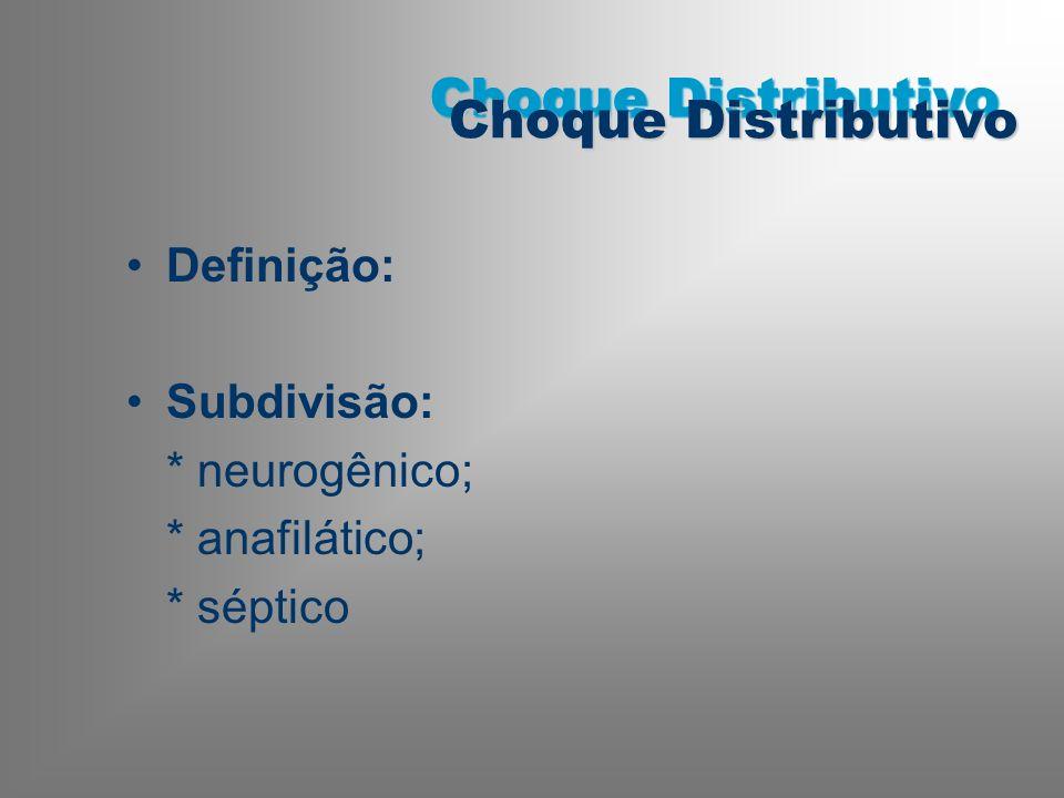 Definição: Subdivisão: * neurogênico; * anafilático; * séptico Choque Distributivo
