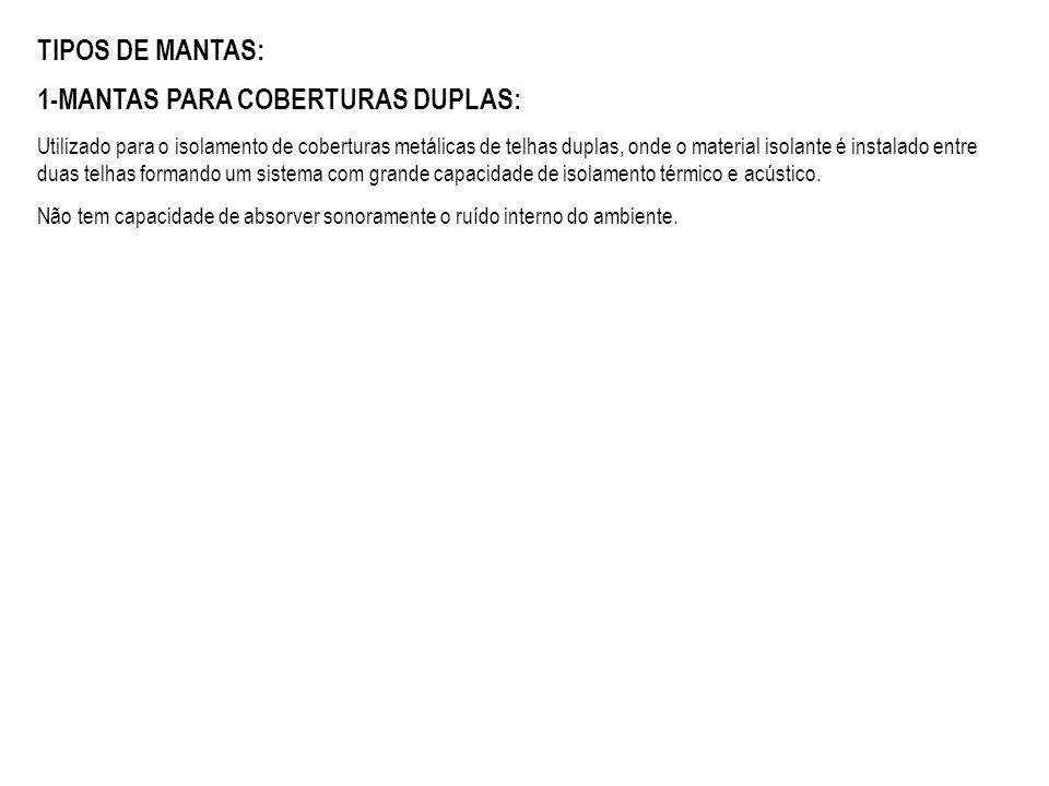 TIPOS DE MANTAS: 1-MANTAS PARA COBERTURAS DUPLAS: Utilizado para o isolamento de coberturas metálicas de telhas duplas, onde o material isolante é ins