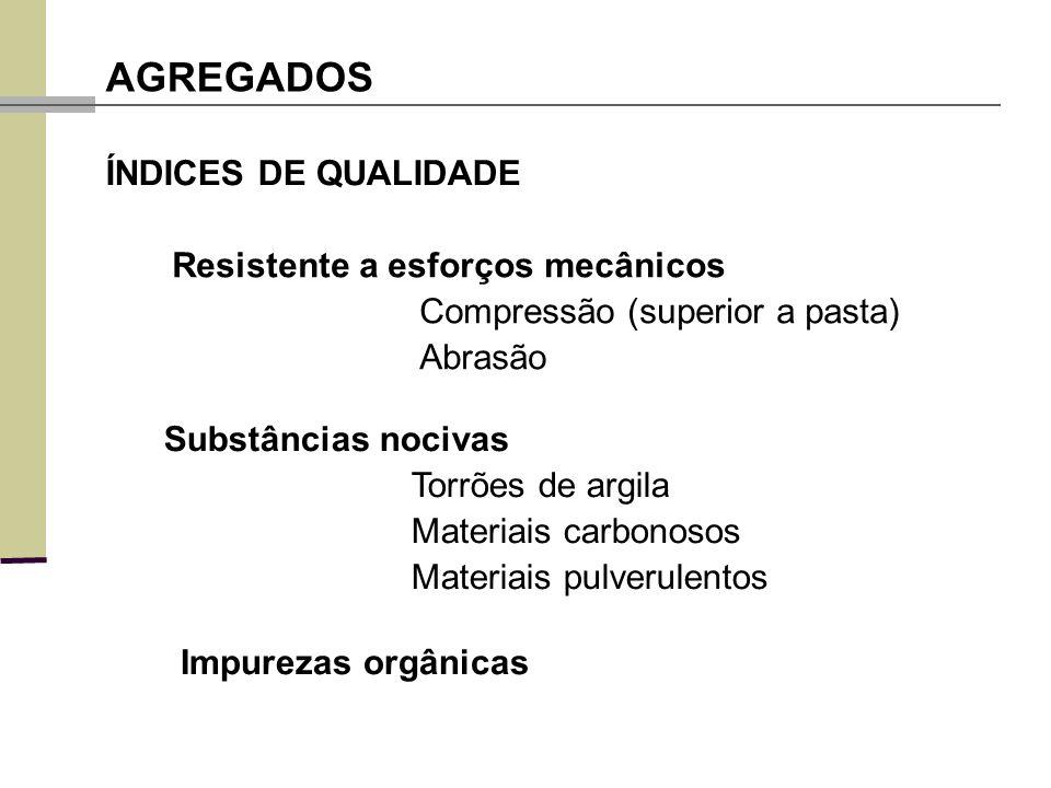 Resistente a esforços mecânicos Compressão (superior a pasta) Abrasão AGREGADOS ÍNDICES DE QUALIDADE Substâncias nocivas Torrões de argila Materiais c