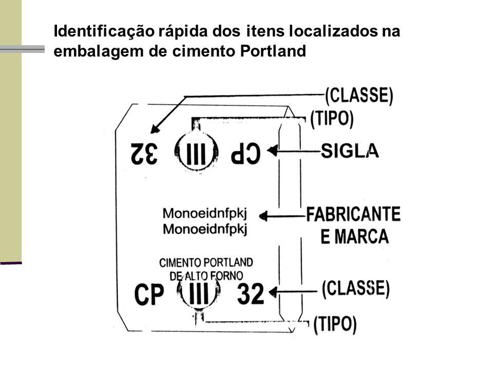 Identificação rápida dos itens localizados na embalagem de cimento Portland