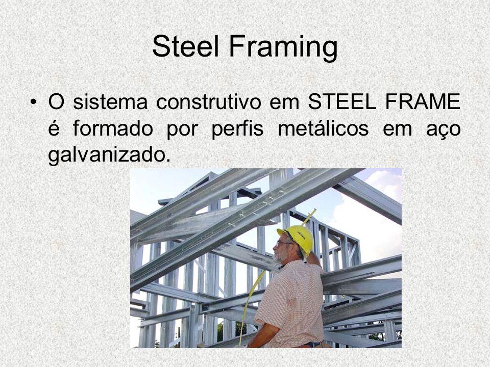 O sistema construtivo em STEEL FRAME é formado por perfis metálicos em aço galvanizado.
