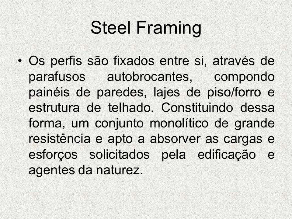 Steel Framing Os perfis são fixados entre si, através de parafusos autobrocantes, compondo painéis de paredes, lajes de piso/forro e estrutura de telh