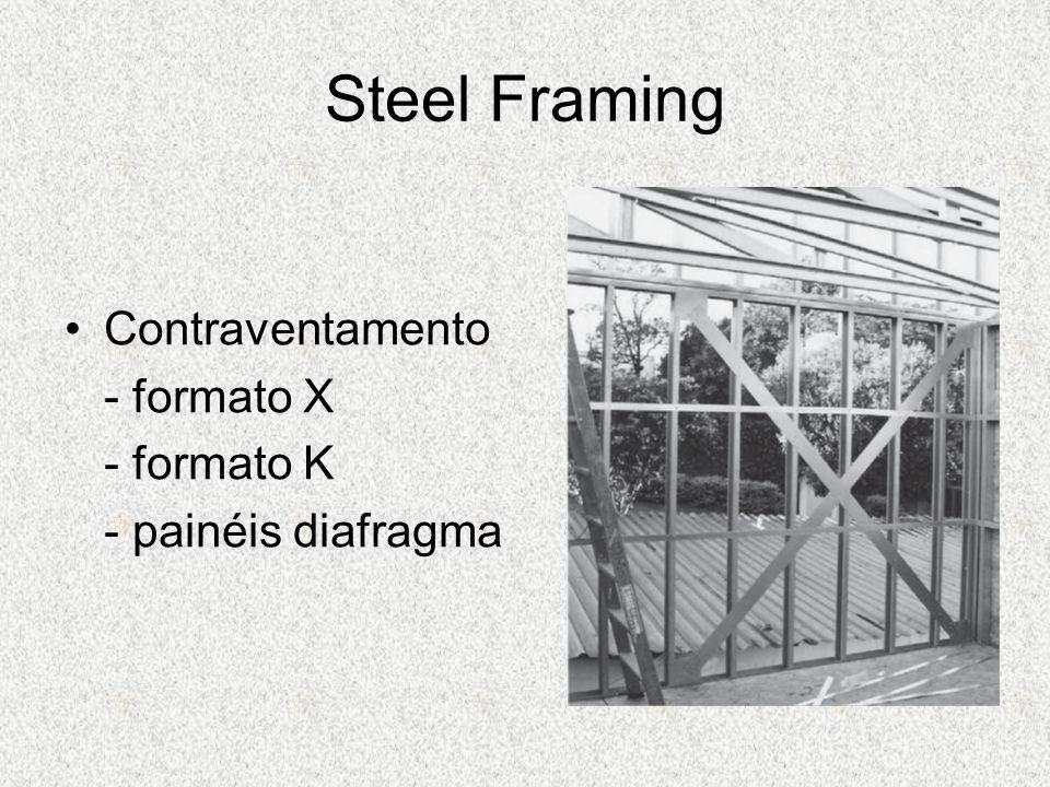 Contraventamento - formato X - formato K - painéis diafragma