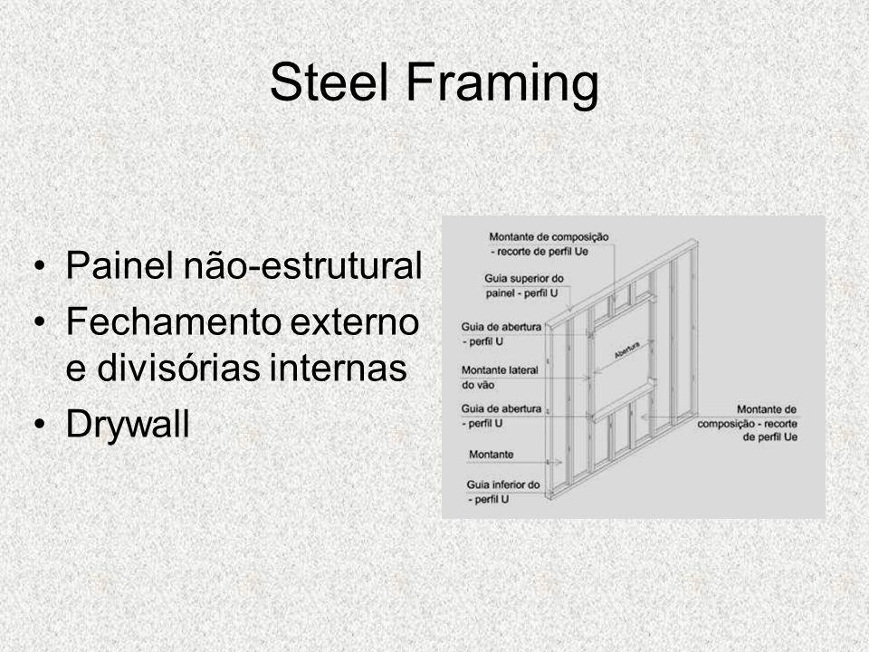 Steel Framing Painel não-estrutural Fechamento externo e divisórias internas Drywall