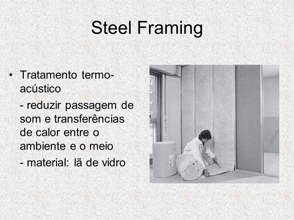 Steel Framing Tratamento termo- acústico - reduzir passagem de som e transferências de calor entre o ambiente e o meio - material: lã de vidro
