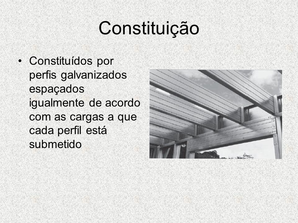 Constituição Constituídos por perfis galvanizados espaçados igualmente de acordo com as cargas a que cada perfil está submetido