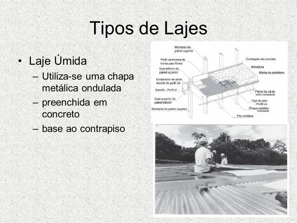 Tipos de Lajes Laje Úmida –Utiliza-se uma chapa metálica ondulada –preenchida em concreto –base ao contrapiso