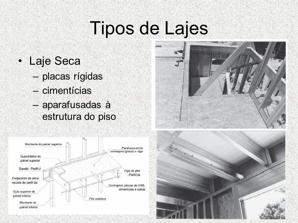 Tipos de Lajes Laje Seca –placas rígidas –cimentícias –aparafusadas à estrutura do piso
