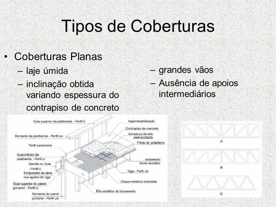 Tipos de Coberturas Coberturas Planas –laje úmida –inclinação obtida variando espessura do contrapiso de concreto –grandes vãos –Ausência de apoios in