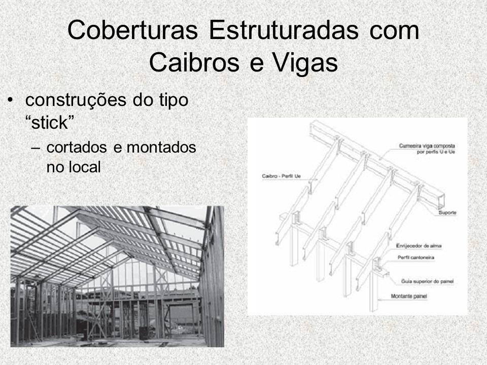Coberturas Estruturadas com Caibros e Vigas construções do tipo stick –cortados e montados no local
