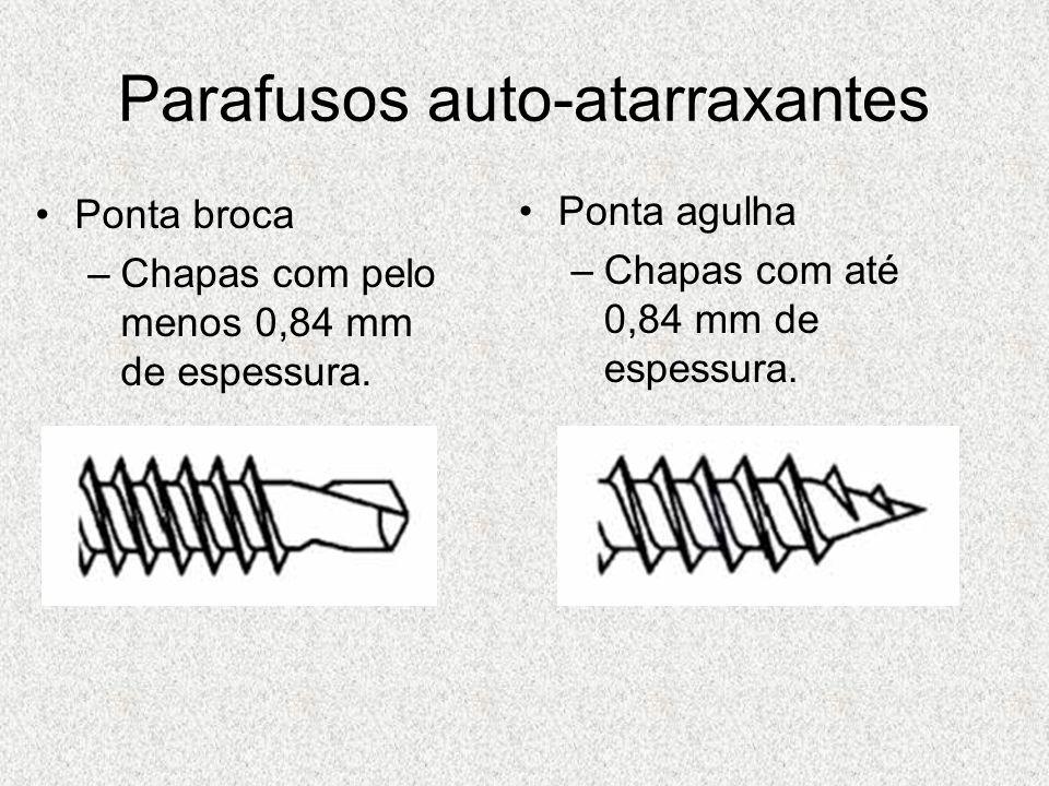 Parafusos auto-atarraxantes Ponta broca –Chapas com pelo menos 0,84 mm de espessura. Ponta agulha –Chapas com até 0,84 mm de espessura.