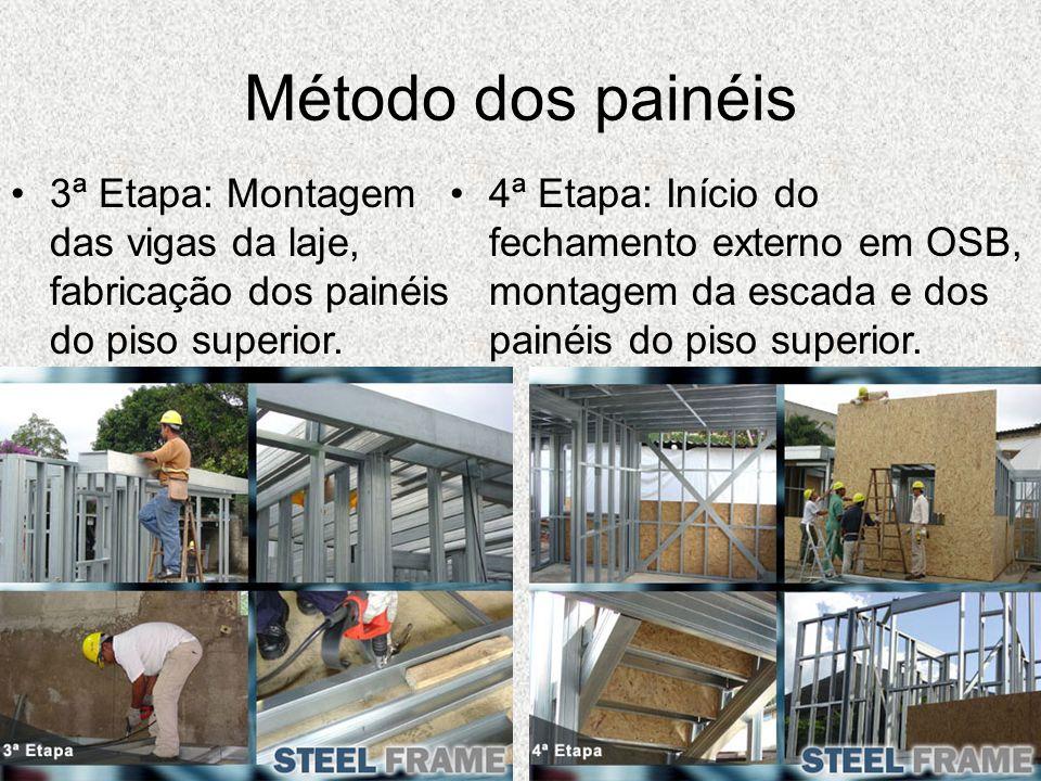 Método dos painéis 3ª Etapa: Montagem das vigas da laje, fabricação dos painéis do piso superior. 4ª Etapa: Início do fechamento externo em OSB, monta