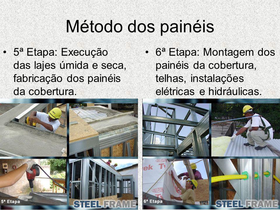 Método dos painéis 5ª Etapa: Execução das lajes úmida e seca, fabricação dos painéis da cobertura. 6ª Etapa: Montagem dos painéis da cobertura, telhas