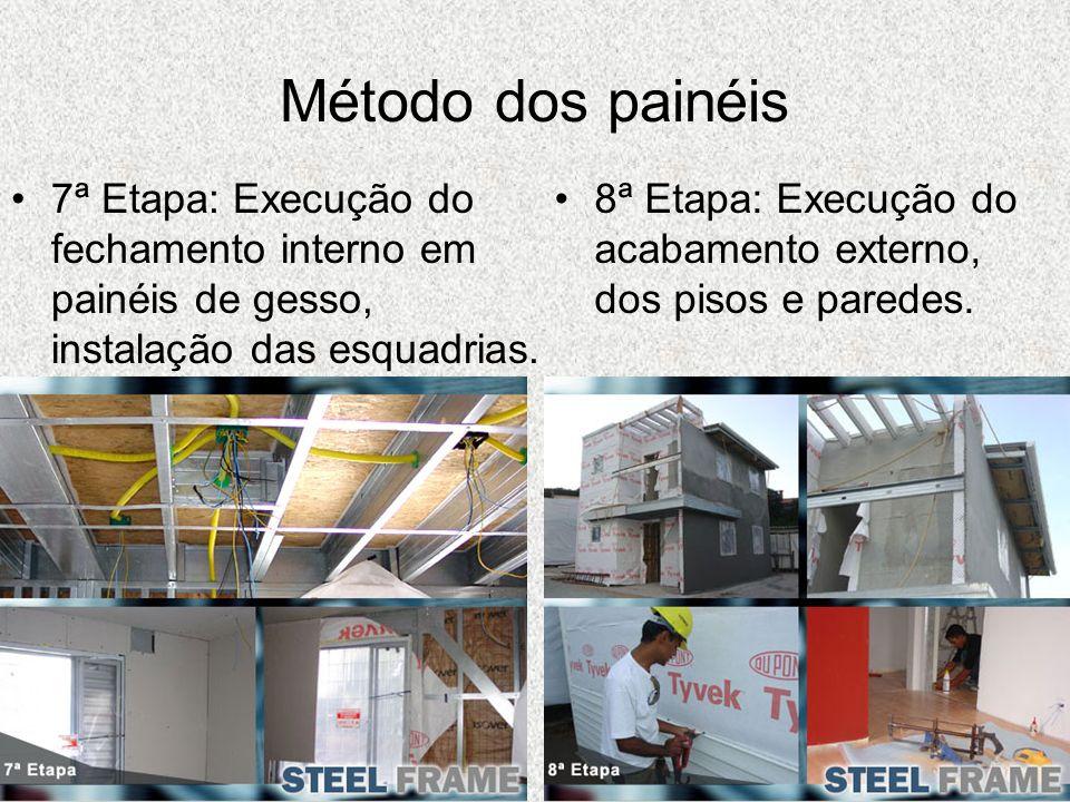Método dos painéis 7ª Etapa: Execução do fechamento interno em painéis de gesso, instalação das esquadrias. 8ª Etapa: Execução do acabamento externo,