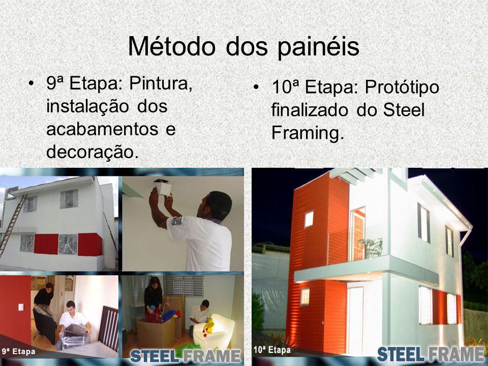 Método dos painéis 9ª Etapa: Pintura, instalação dos acabamentos e decoração. 10ª Etapa: Protótipo finalizado do Steel Framing.