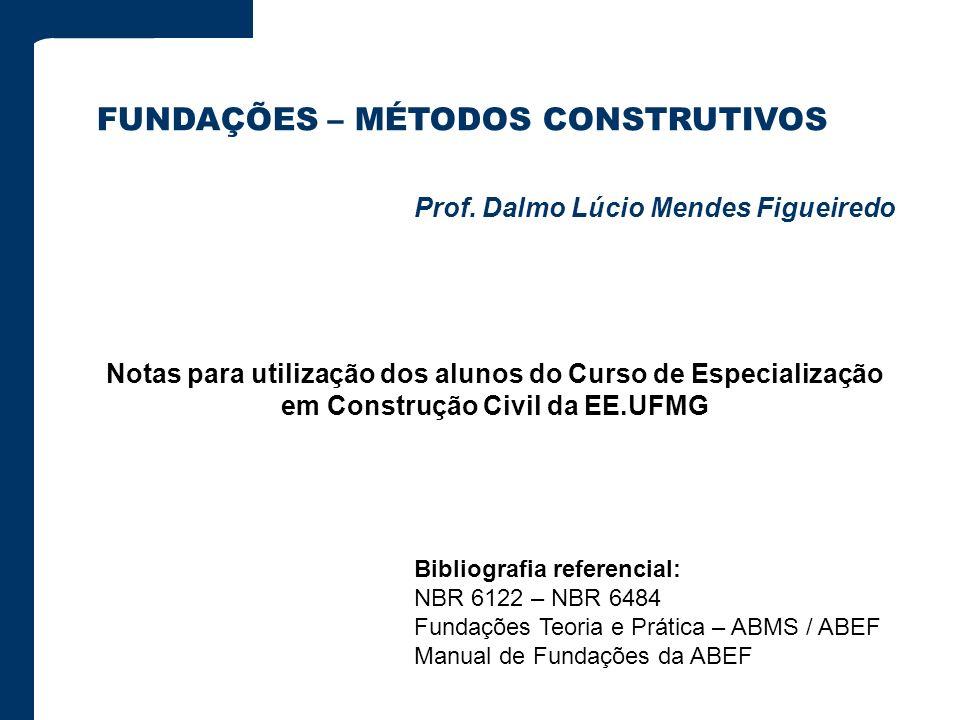 Bibliografia referencial: NBR 6122 – NBR 6484 Fundações Teoria e Prática – ABMS / ABEF Manual de Fundações da ABEF FUNDAÇÕES – MÉTODOS CONSTRUTIVOS Pr